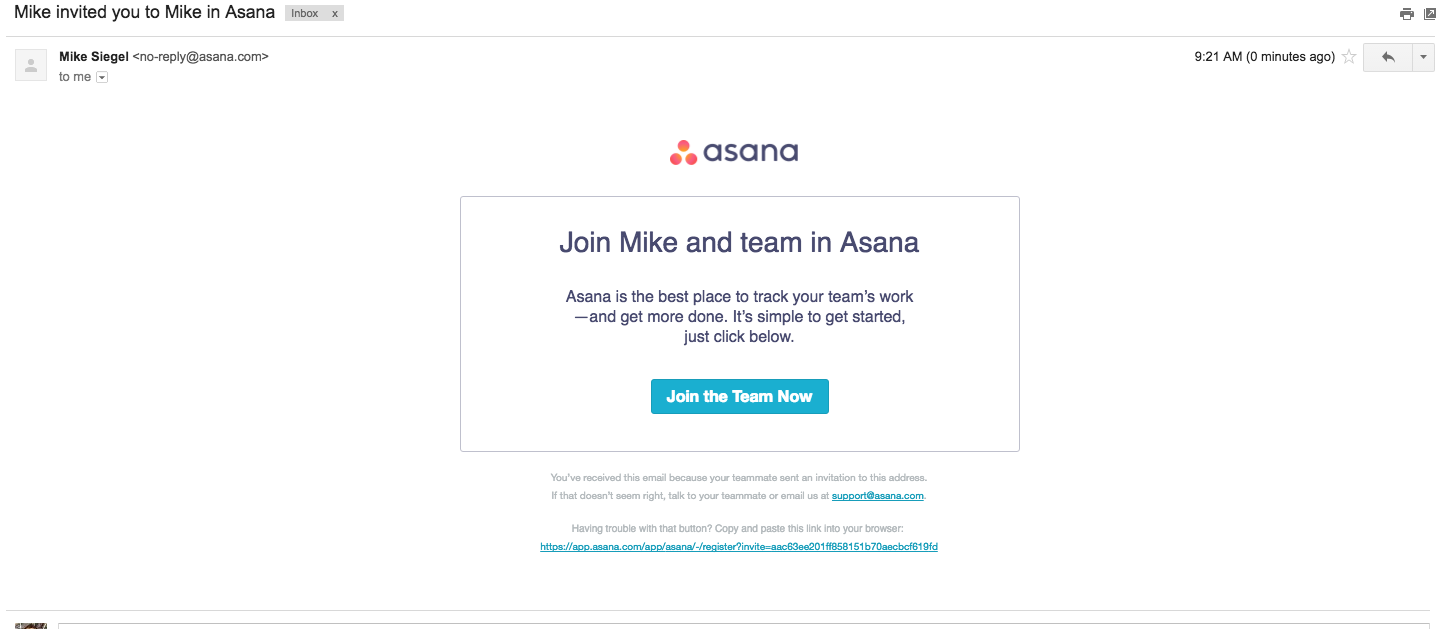 Asana New User Email
